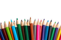 Assortment of coloured pencils Stock Images