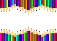 Assortment of coloured pencils. On a white background Royalty Free Stock Photo