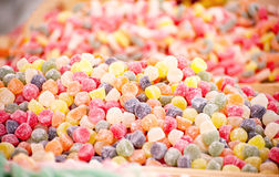 Assortment colourful gummy candies at market Stock Photos