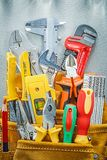 Assortment of construction tooling in tool belt royalty free stock photos