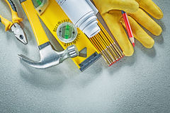 Assortment of construction tools on concrete background building royalty free stock photos