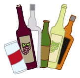 Alcoholic Beverage Containers. An assortment of containers of various alcoholic beverages fanned out Stock Photo