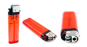 Red Lighter Bundle. An assortment containing three angles of a half transparent simple red lighter, isolated on white background Stock Photography