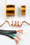 Assortment of Copper Wire. Insulated, Bare and Coiled Stock Photos
