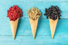 Assortment of currant berries black, red and white in waffle ice cream cone on blue wooden background. Creative summer food concept. flat lay. top view royalty free stock image