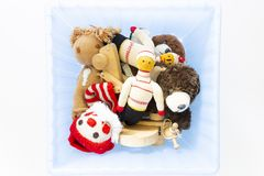 Assortment of cute vintage children toys royalty free stock photography