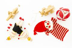 Assortment of cute vintage children toys royalty free stock image
