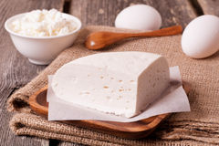 Assortment of dairy products (goat cheese and cottage cheese) Stock Image