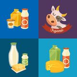 Assortment of dairy products, square composition. Assortment of different dairy products, isolated square composition on color background,  illustration. Organic Stock Photo