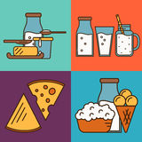 Assortment of dairy products, square composition Royalty Free Stock Photo