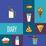 Assortment of dairy products, square composition Stock Photography