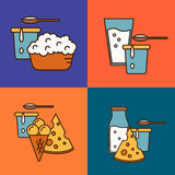 Assortment of dairy products, square composition Stock Images