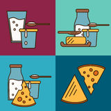 Assortment of dairy products, square composition Stock Photo