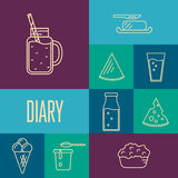 Assortment of dairy products, square composition Royalty Free Stock Photos