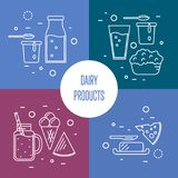 Assortment of dairy products, square compositions. Assortment of different dairy products, isolated square compositions on color background, vector illustrations Royalty Free Stock Photos