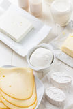 Assortment of dairy products stock photos