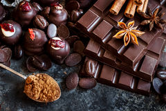 Assortment of dark and milk chocolate stack, sweets. Royalty Free Stock Photo