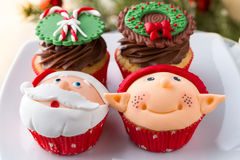 Assortment of decorated cupcake Stock Images