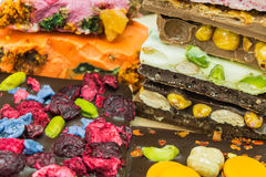 Assortment delicious chocolate bars Royalty Free Stock Images