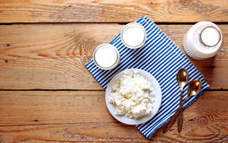 Assortment of diary products for breakfast (homemade yogurt, cot Stock Image