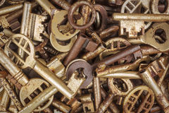 Assortment of different antique keys Stock Photo