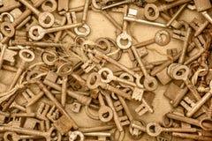 Assortment of different antique keys Stock Photos