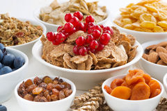 Assortment of different breakfast cereal, dried fruit Stock Photo
