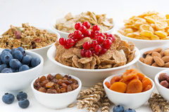 Assortment of different breakfast cereal, dried fruit and berry Royalty Free Stock Photos