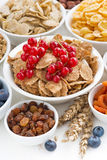 Assortment of different breakfast cereal, dried fruit Stock Photos