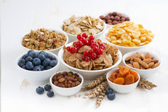 Assortment of different breakfast cereal, dried fruit Royalty Free Stock Photo