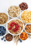 Assortment of different breakfast cereal, dried fruit Royalty Free Stock Photography