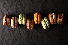 Assortment of macaron cookies. Assortment of different colorful macaron cookies royalty free stock images