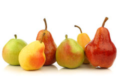 Assortment of different colorful pears royalty free stock images