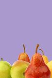 Assortment of different colorful pears Stock Photo