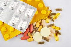 Assortment of Different Pills Royalty Free Stock Images