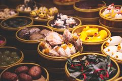 Assortment of different types of asian traditional street food in Shanghai street, China. Assortment of different types of asian traditional street food in Royalty Free Stock Photo