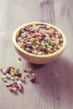 Assortment of different types of beans - red beans, chickpeas, p Stock Photo