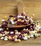 Assortment of different types of beans Stock Photo