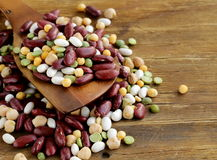 Assortment of different types of beans Stock Photos