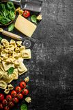 An assortment of different types of raw pasta with cheese, tomatoes and herbs. On dark rustic background stock images