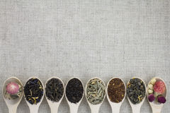 Assortment of different types of tea in a wooden spoon royalty free stock images