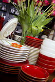Assortment of Dinner Plates and Bowls Stock Image