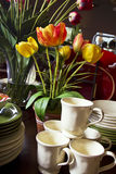 Assortment of Dinner Plates, Cups and Bowls Stock Photo