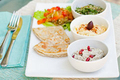 Assortment of dips: hummus, chickpea dip, tabbouleh salad, baba ganoush and flat bread, pita on a plate Royalty Free Stock Photos