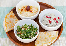 Assortment of dips: hummus, chickpea dip, tabbouleh salad, baba ganoush and flat bread, pita on a plate Stock Image