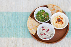 Assortment of dips: hummus, chickpea dip, tabbouleh salad, baba ganoush and flat bread, pita Royalty Free Stock Photos