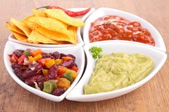 Nachos and dips Stock Images