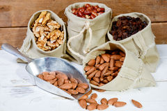 Assortment of dried fruit in small bags canvas Stock Photography