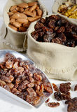 Assortment of dried fruit in small bags canvas Stock Image