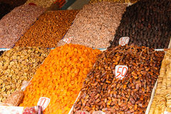 Assortment of dried fruits. Marrakech . Morocco stock image